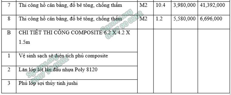 Chi Phi Thi Cong Ho Boi Composite